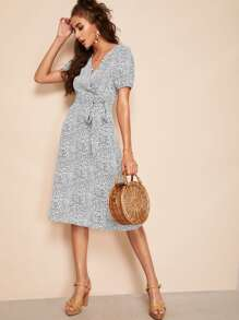 V Neck Tie Side Dalmatian Dress