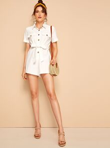 Button Front Flap Pocket Self Belted Romper