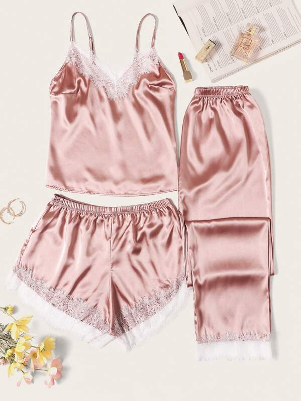 85aae1fec6 Eyelash Lace Satin Cami PJ Set With Trousers | SHEIN UK