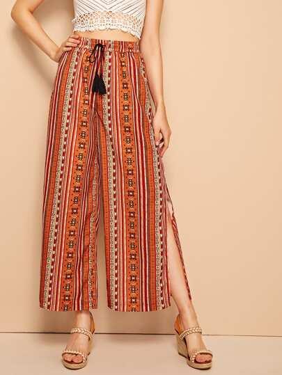 e55cdaf47b Pantalones culote de cintura con cordón con abertura lateral con estampado  azteca