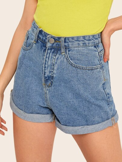 Rolled Hem Pocket Detail Denim Shorts