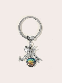 Mermaid & Starfish Pendant Keychain