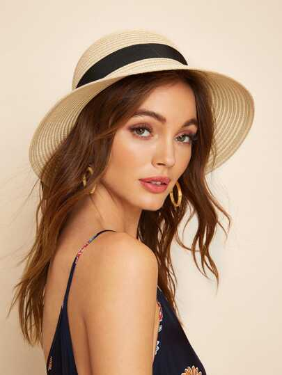 Self Tie Band Decor Floppy Hat