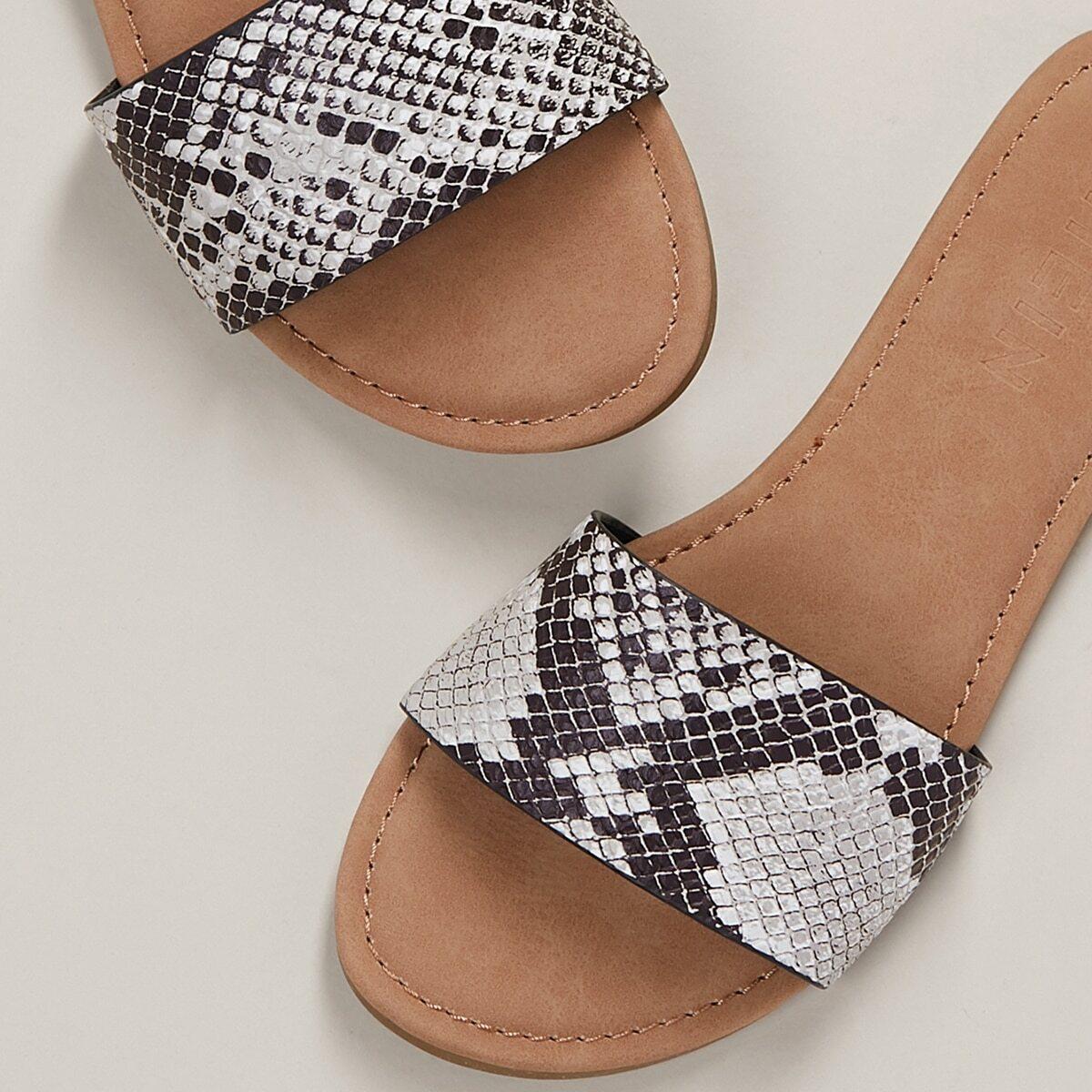 Slip On Sandalen mit Schlangenleder Muster