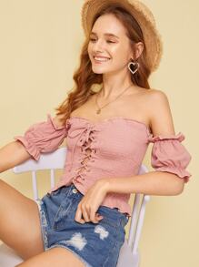 Frill Trim Lace Up Shirred Crop Tee
