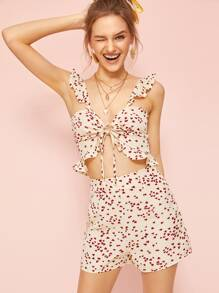 Confetti Heart Print Knot Front Cami Top With Shorts