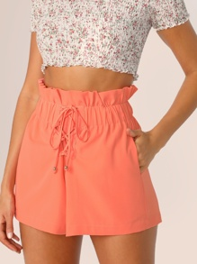 Paperbag Lace-up Waist Slant Pocket Shorts