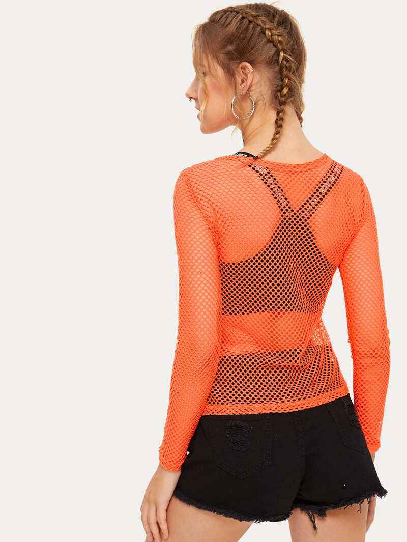 uskomaton valinta uusin 100% aito Neon Orange Fishnet Mesh Top Without Bra