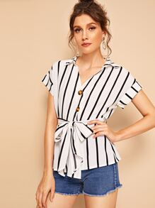 Vertical Striped Button Front Belted Blouse