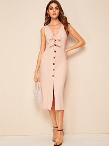 Button Through Tie Front Peekaboo Ribbed Dress