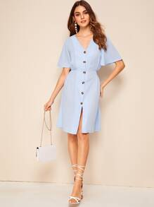Button Front Shirred Back Tea Dress