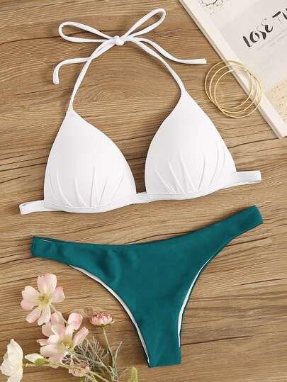 9b6ef481f Set de bikini top halter fruncido