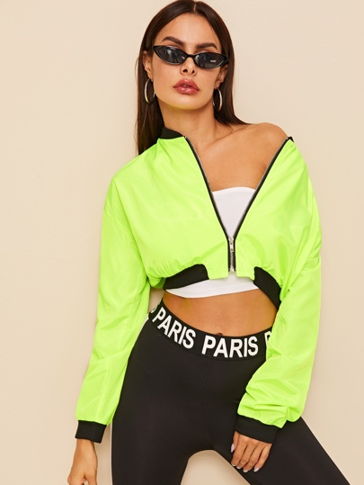 b1f1e0f87 Neon Green Zip Through Crop Bomber Jacket