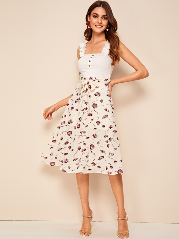 c6ac76d81 Ditsy Floral Tie Front Paperbag Skirt. AddThis Sharing Buttons
