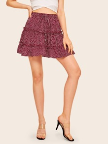Calico Print Layered Skirt