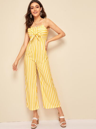 a4ddd437be1 Striped Tie Front Cami Jumpsuit
