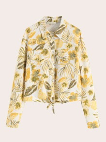 Pocket Front Tropical Print Blouse