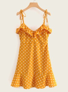 Polka Dot Pep Hem Cami Dress