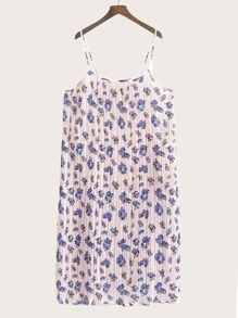 Ditsy Floral Pleated Chiffon Cami Dress
