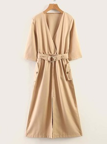 Self Tie Slit Hem Solid Dress