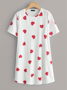 Heart Print T-shirt Dress