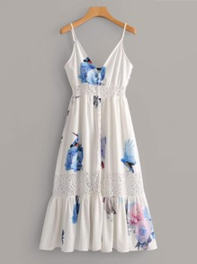 Lace Panel Floral & Bird Print Cami Dress