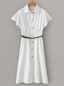 Self Tie Button Front Shirt Dress