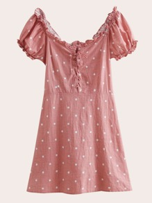 Off-shoulder Lace-up Front Shirred Dot Dress