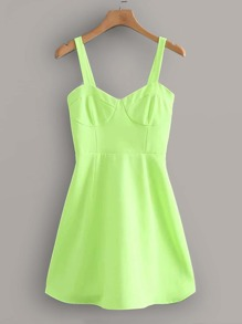 Neon Lime Shirred Cami Dress