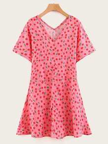 V-neck Cherry Print Pep Hem Dress