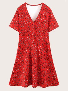 V-neck Ditsy Floral Pep Hem Dress