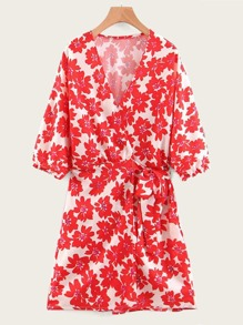 Floral Print Blouson Sleeve Wrap Dress