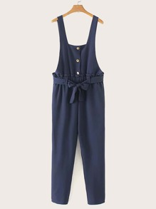Tie Front Button Detail Solid Jumpsuit