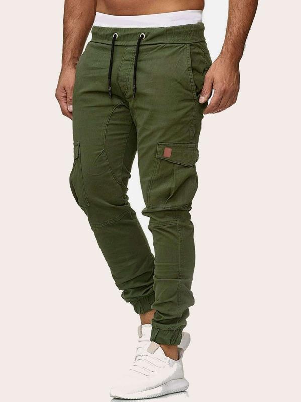 f34c94871e Pantalones cargo de hombres de cintura con cordón con bolsillo lateral