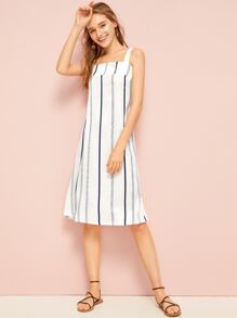 Striped Ring Back Cami Dress