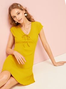 Tie Front Solid Dress