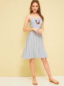 Striped Ruffle Hem Cami Dress