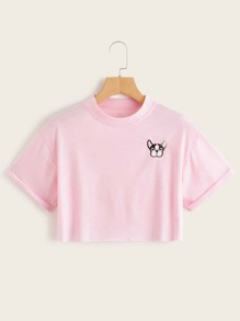 Dog Embroidery Crop Tee