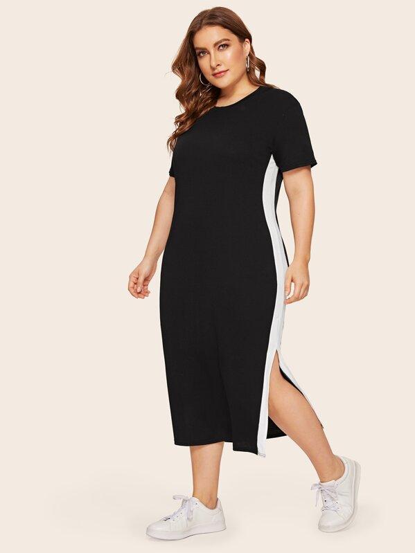 Plus Contrast Side Slit Hem T-shirt Dress