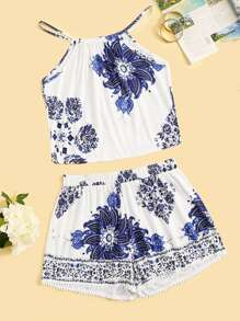 Plus Floral Print Cami Top With Contrast Lace Shorts