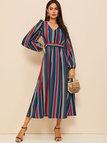 Rainbow Stripe Bishop Sleeve Longline Dress