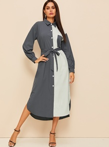 Spliced Split-side Belted Shirt Midi Dress