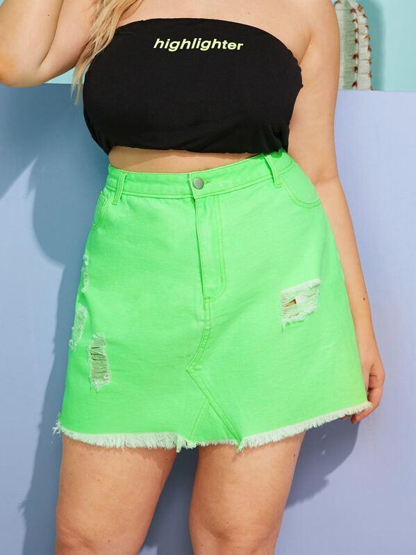 486bcdadf0d3 Plus Raw Hem Neon Green Denim Skirt   SHEIN