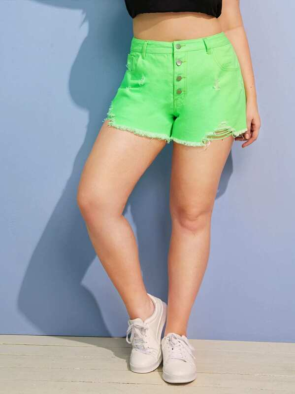 289e853c3e7f Plus Raw Hem Ripped Neon Green Denim Shorts   SHEIN IN