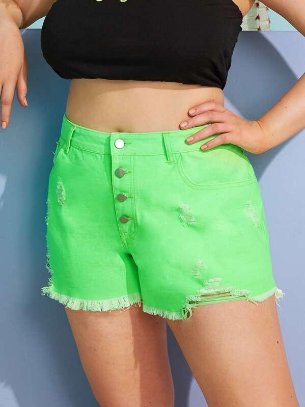 7721da23e423 Plus Raw Hem Ripped Neon Green Denim Shorts   SHEIN UK