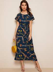 Chain Print Split-side Belted Longline Dress