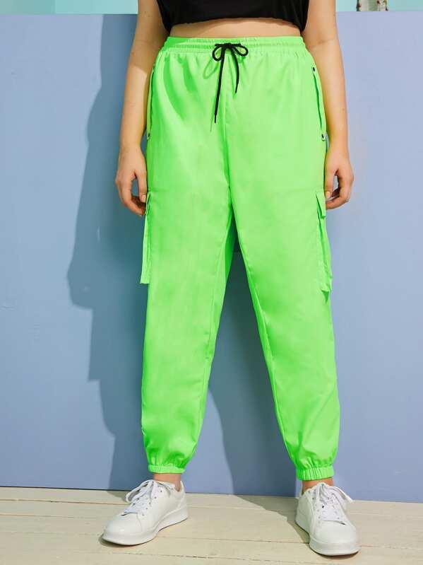 ec5c7df9c4936 Plus Drawstring Waist Neon Green Cargo Trousers