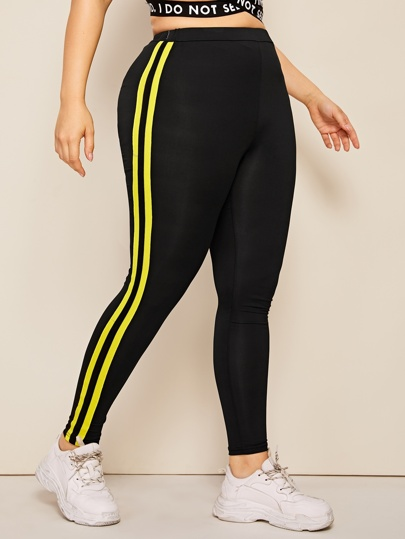 0ddcfcbe523 Plus Contrast Taped Side Skinny Leggings