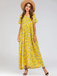 Ditsy Floral Print Hidden Pocket Longline Dress