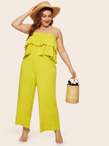 Plus Tiered Layer Neon Yellow Cami Top With Pants